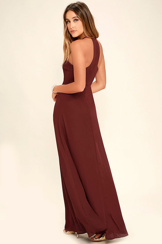 Beauty and Grace Burgundy Maxi Dress 3