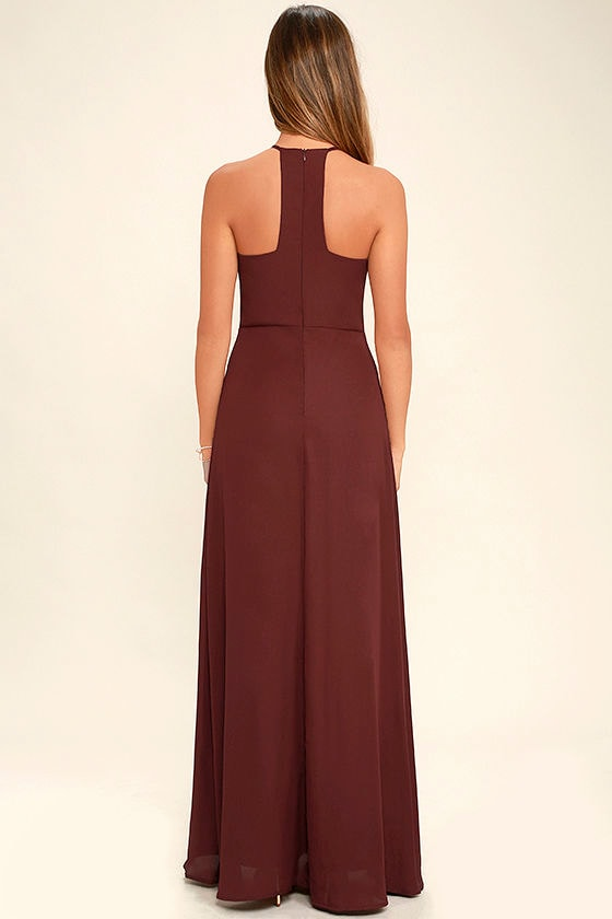 Beauty and Grace Burgundy Maxi Dress 4