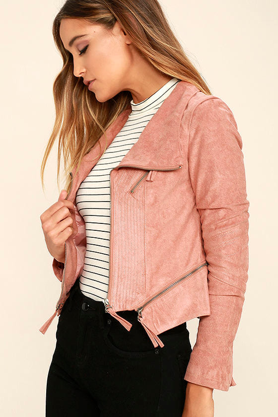 Chic Blush Pink Jacket - Moto Jacket - Vegan Suede Jacket - $79.00