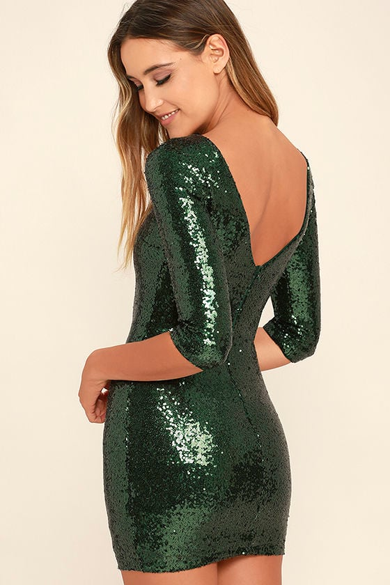 Sexy Forest Green Dress - Sequin Dress - Bodycon Dress - $59.00