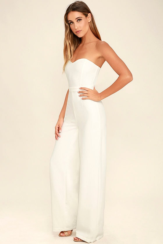 2e94a566f2a Chic White Jumpsuit - Wide-Leg Jumpsuit - Strapless Jumpsuit -  74.00
