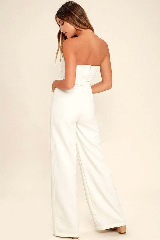Chic White Jumpsuit - Wide-Leg Jumpsuit - Strapless Jumpsuit - $74.00