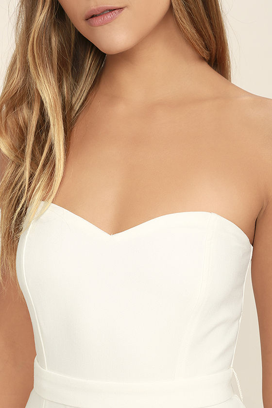 Pop Life White Strapless Jumpsuit 5