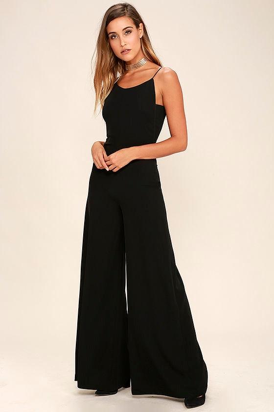 c8adab3b7369 Chic Black Jumpsuit - Backless Jumpsuit - Wide-Leg Jumpsuit -  78.00