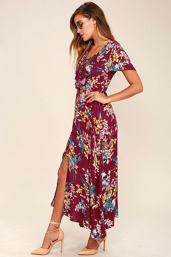 10517dc59d84 Somedays Lovin' Supremes - Floral Print Dress - Maxi Dress - Lace-Up ...