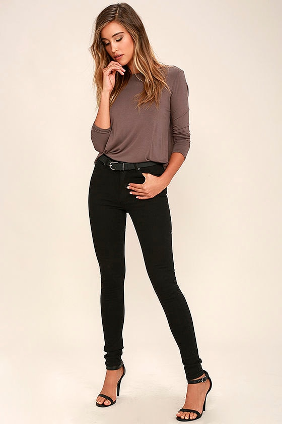 Cheap Monday Second Skin - Black Jeans - High-Waisted Jeans ...