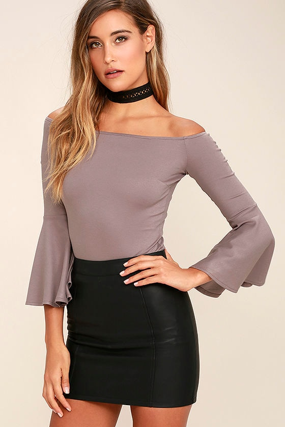 Good One Taupe Off-the-Shoulder Bodysuit 1