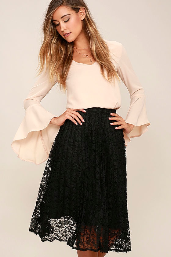 Lovely Black Skirt - Midi Skirt - Lace Skirt - Pleated Skirt - $38.00