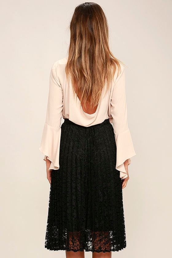 Lovely Black Skirt - Midi Skirt - Lace Skirt - Pleated Skirt - $38.00
