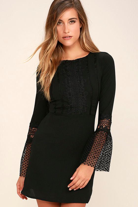 6c1ef4a34469 Chic Black Dress - Crochet Lace Dress - Sheath Dress - $59.00