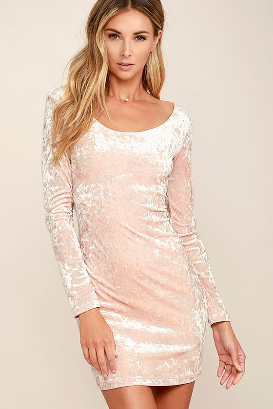 Sexy Blush Pink Dress - Velvet Dress - Bodycon Dress - $39.00