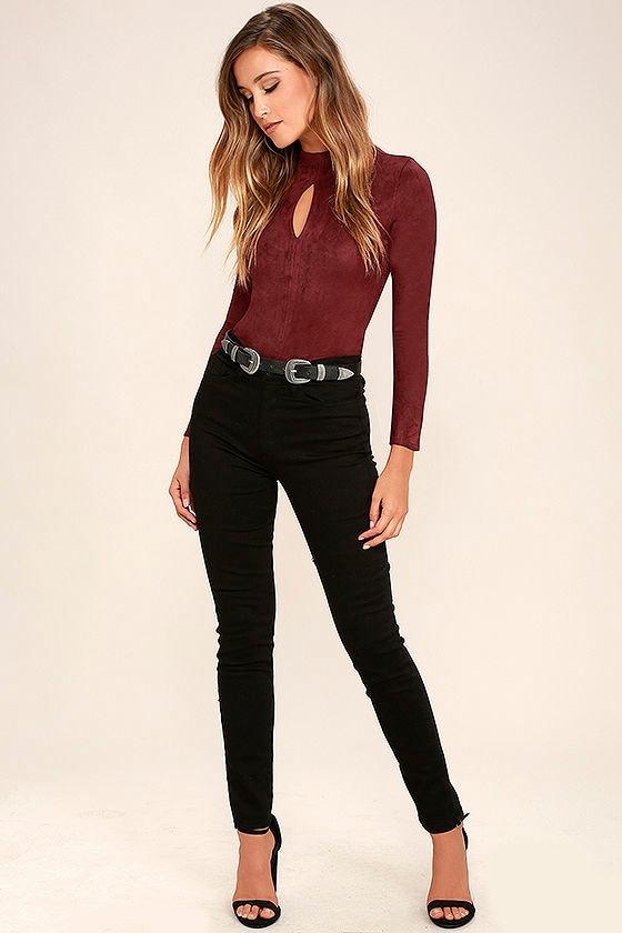 ee54af6095 Mink Pink Feel Again Bodysuit - Wine Red Suede Bodysuit - Long ...