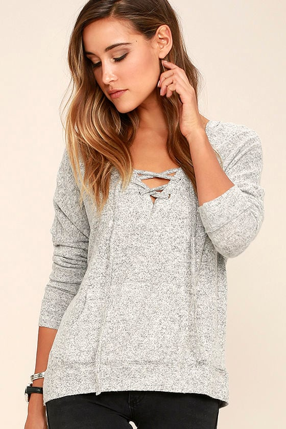 Slow Motion Heather Grey Lace-Up Hoodie 1