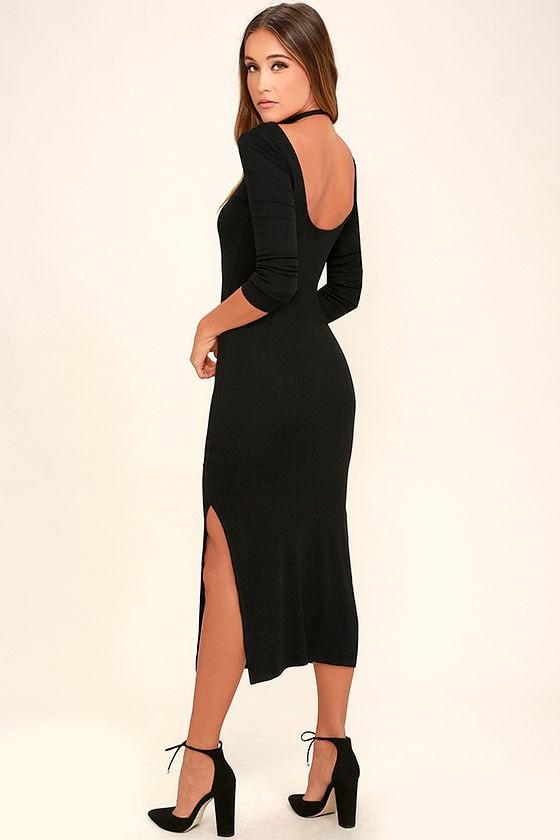 Amuse Society Naia Black Midi Dress