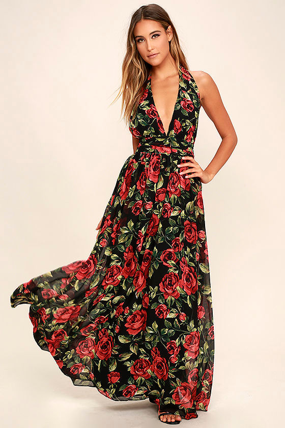 Sexy Black Floral Print Dress Halter Dress Maxi Dress 8900