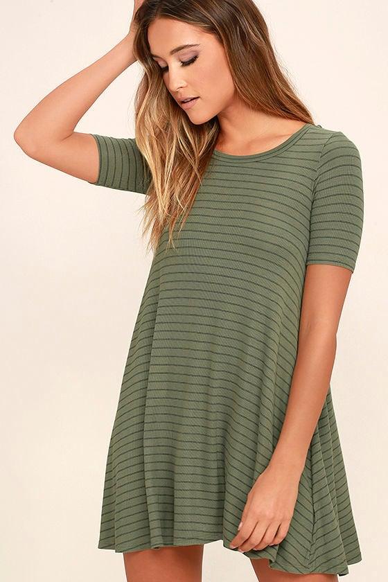 bd72e988413d Billabong Lost Heart Dress - Sage Green Striped Dress - Swing Dress -  39.95