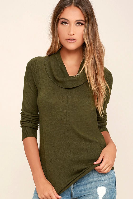 Olive & Oak Olive Green Top - Cowl Neck Top - Sweater Top - $62.00
