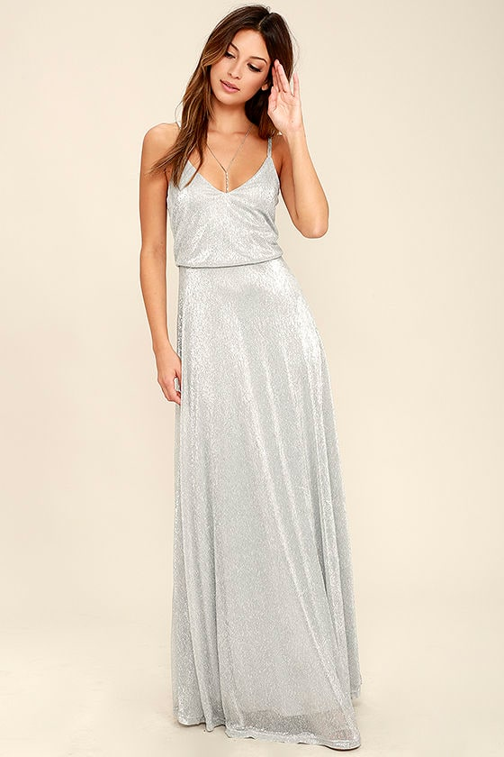 Lovely Silver Dress - Maxi Dress - Metallic Dress - $94.00