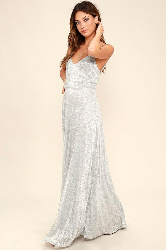0cfaa924dc0a Lovely Silver Dress - Maxi Dress - Metallic Dress -  94.00