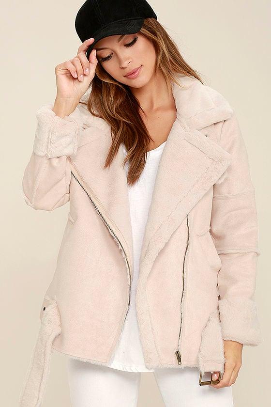 Cozy Blush Pink Sherpa Coat - Faux Fur Coat - Vegan Suede Coat ...