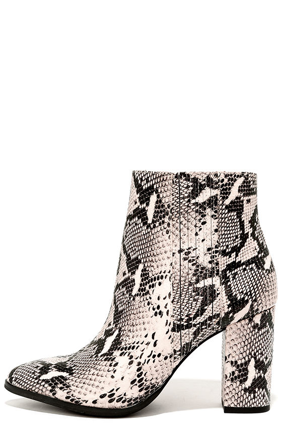 7417980ab5e Seychelles Accordion Black and White Python Leather Ankle Boots
