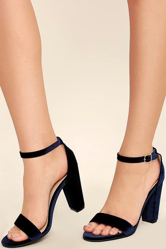 d0e93376474c Cute Navy Blue Heels - Ankle Strap Heels - Dress Sandals -  28.00