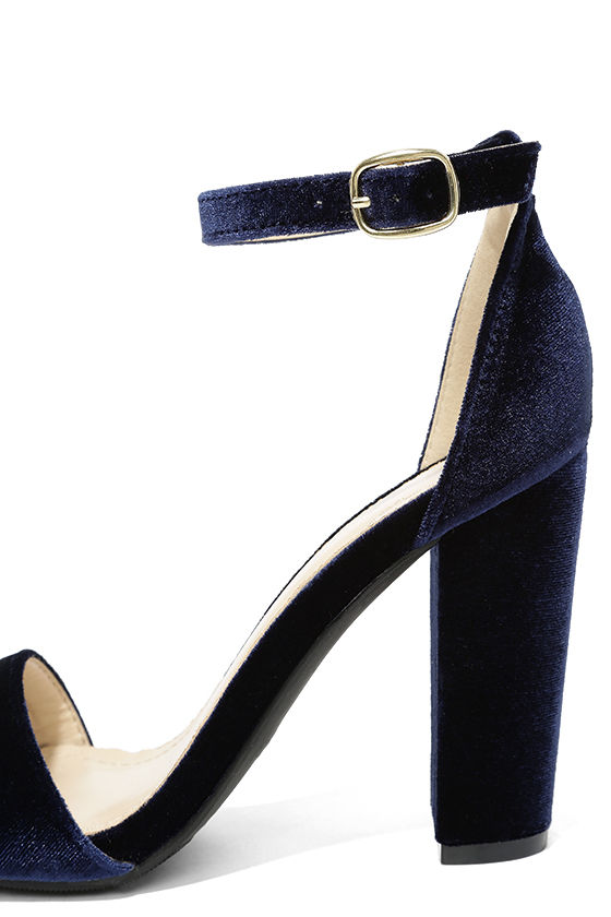 Cute Navy Blue Heels - Ankle Strap Heels - Dress Sandals - $28.00