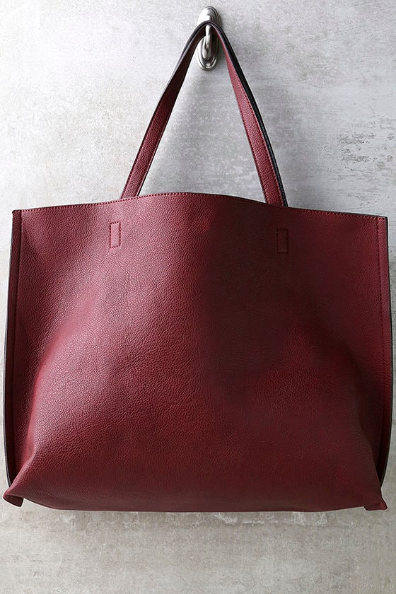 Wine Red and Black Tote - Reversible Tote - Vegan Leather Tote -  49.00