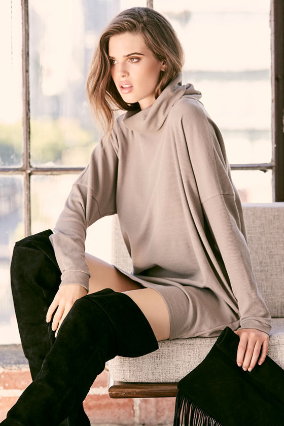 Scheme of Things Taupe Long Sleeve Dress 2