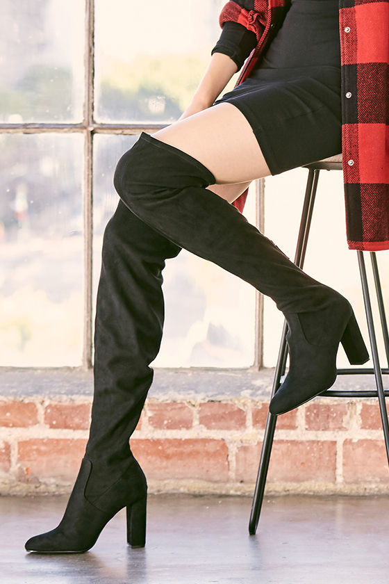 f871bd9018e4 Steve Madden Emotions Boots - Black Over the Knee Boots - Suede OTK ...