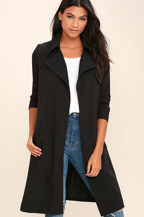 Stylish Black Coat - Trench Coat - Open Front Coat - $86.00
