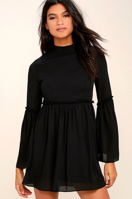Cute Black Dress - Babydoll Dress - Bell Sleeve Dress - $56.00