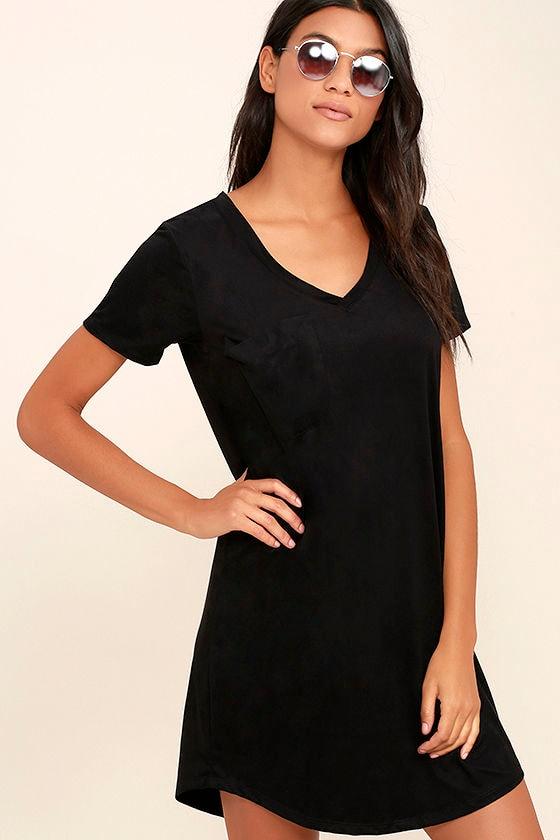 f464c10cbd9e Chic Black Dress - Shirt Dress - Suede Dress - $49.00