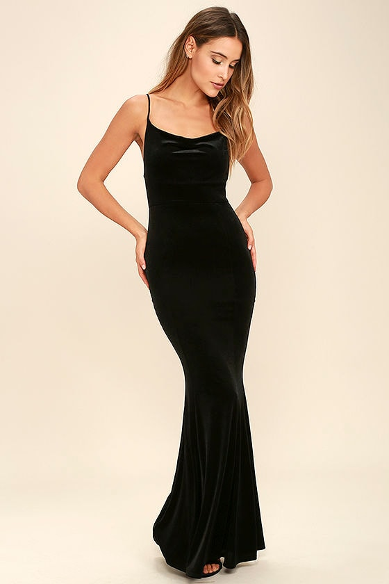 Sexy Velvet Dress - Black Dress - Mermaid Maxi Dress - Bodycon ...
