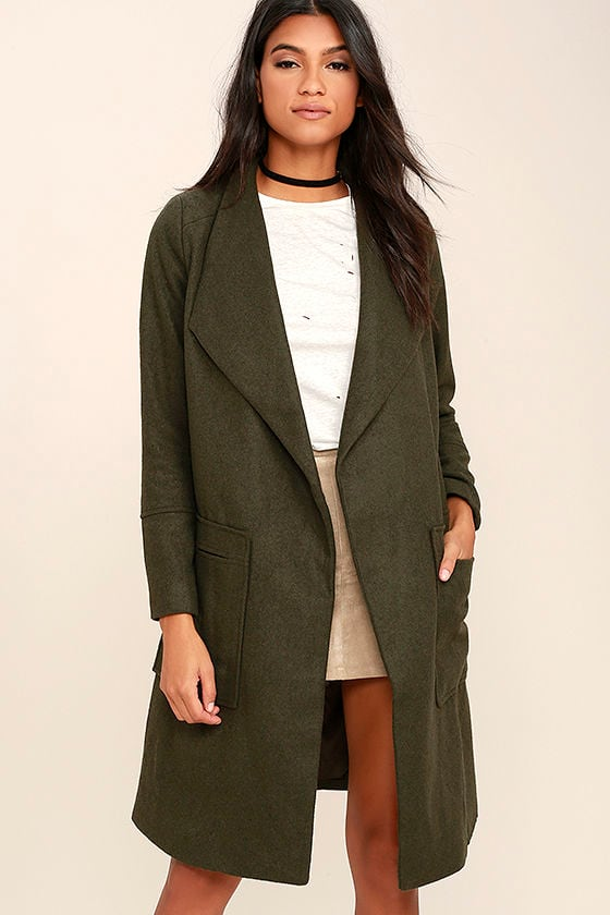 Luxurious Olive Green Coat - Felt Coat - Long Coat - Open ...