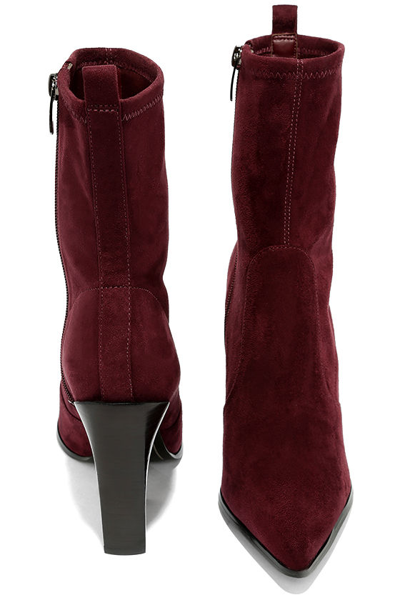 Kendall + Kylie Felicia Dark Red Suede Pointed Mid-Calf Boots 3