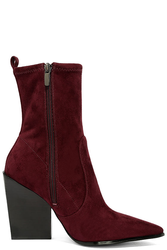 Kendall + Kylie Felicia Dark Red Suede Pointed Mid-Calf Boots 4