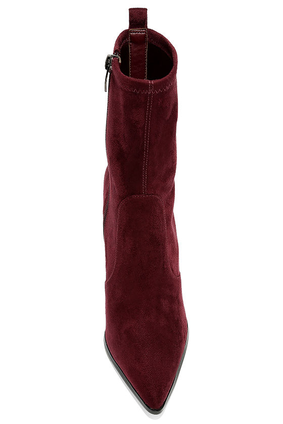 Kendall + Kylie Felicia Dark Red Suede Pointed Mid-Calf Boots 5