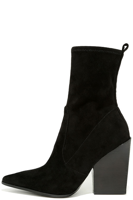 Kendall + Kylie Felicia Black Suede Pointed Mid-Calf Boots 1
