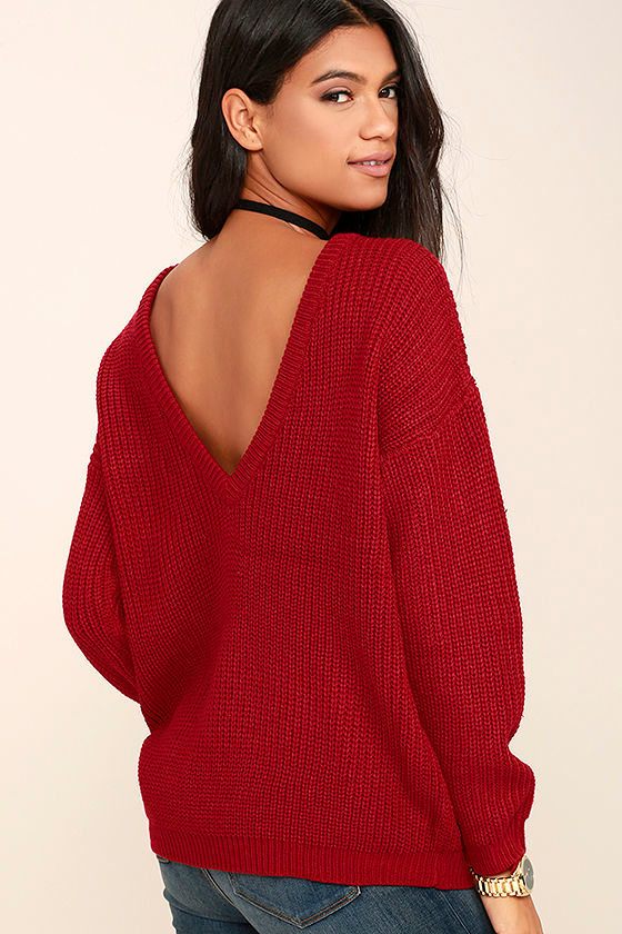 Red Sweater - Oversized Sweater - Backless Sweater - $48.00