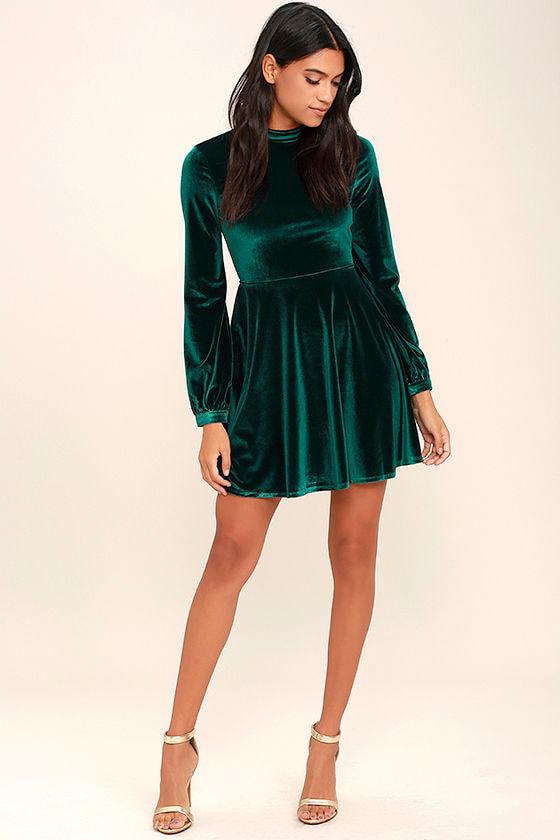 6ca07a3b86e Lovely Forest Green Dress - Backless Dress - Skater Dress - Velvet ...