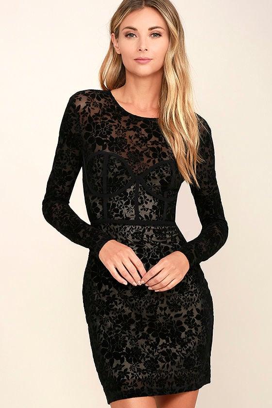 Cor-Set to Go Black Burnout Velvet Print Dress 1