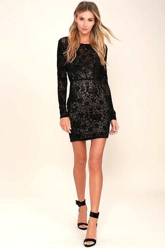 Cor-Set to Go Black Burnout Velvet Print Dress 2