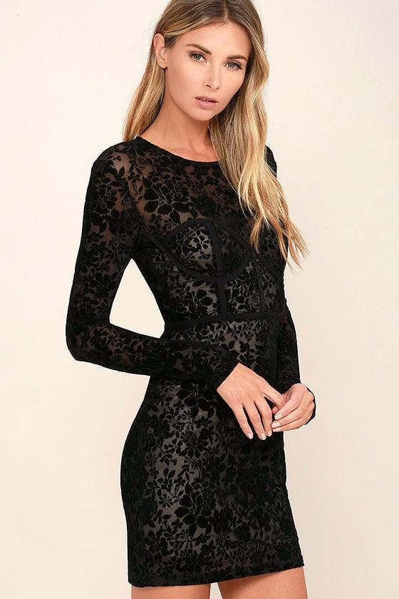 Cor-Set to Go Black Burnout Velvet Print Dress 3