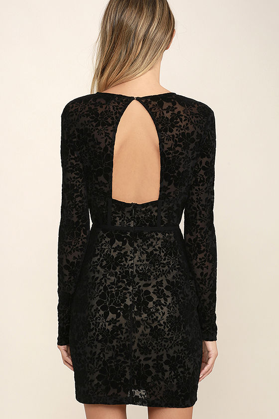 Cor-Set to Go Black Burnout Velvet Print Dress 4
