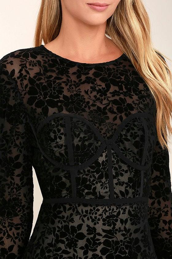 Cor-Set to Go Black Burnout Velvet Print Dress 5