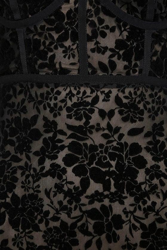 Cor-Set to Go Black Burnout Velvet Print Dress 6