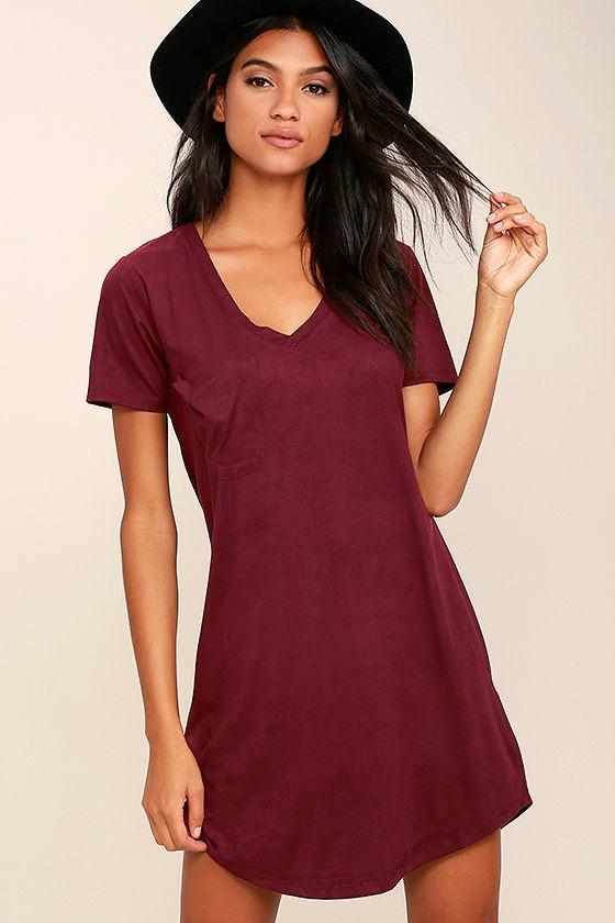 8845715a6638 Chic Burgundy Dress - Shirt Dress - Suede Dress -  49.00