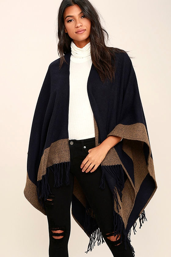 Precipice Palace Taupe and Navy Blue Poncho 1