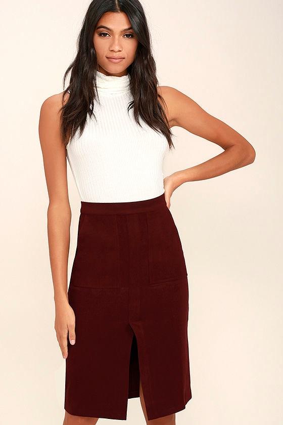 Cute Burgundy Skirt - Felted Pencil Skirt - Stretchy Pencil Skirt ...